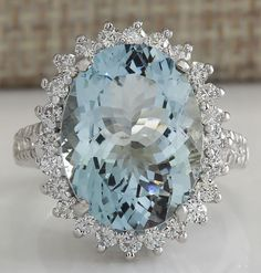 ESTATE 9.04CTW NATURAL AQUAMARINE AND DIAMOND RING IN 14K SOLID WHITE GOLD #Cocktail