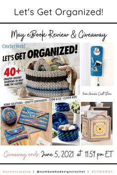 Let's Get Organized Crochet Patterns Let's Get Organized - Annie's Review and Giveaway. Giveaway ends June 5, 2021 at 11:59 pm ET. Open worldwide where allowed by law. Void in Quebec. Giveaway not affiliated with Instagram or Facebook. #anniescatalog #giveaway Double Crochet Decrease, Half Double Crochet, Single Crochet, World Organizations, Crochet Yarn, Crochet Hooks, Clever Kids, Crochet World, Simple Bags
