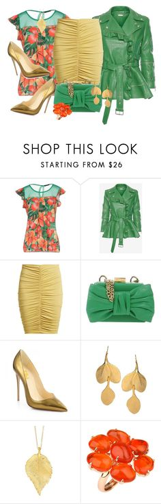 """Ruched Skirt & Florals"" by shamrockclover ❤ liked on Polyvore featuring Giorgia & Johns, Alexander McQueen, MaxMara, Boutique Moschino, Kenneth Jay Lane, Chupi, leatherjackets, polyvoreeditorial and ruchedskirt"