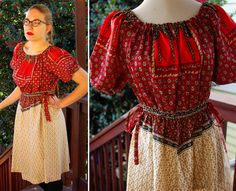 Bohemian 1950's 60's Vintage Ethnic European Red and Cream Dress by Fred Rothschild California by Jewels4pandas on Etsy https://www.etsy.com/listing/119370443/bohemian-1950s-60s-vintage-ethnic