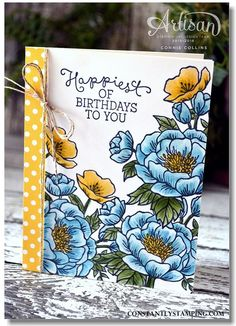 handmade birthday card featuring Birthday Blooms ... blue, yellow, white and a bit of green ... masking technique used to create the grouping ... Stampin' Up!