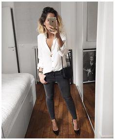 "• Silk Shirt #sezane (from @sezane) • Jean #jbrand 835 (from @jbrandjeans) • Shoes #cosmoparis (old but still on @cosmoparis) ..."""
