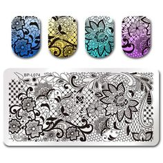 BORN PRETTY Triangle Nail Stamping Template Plate Gorgeous Flower Moon Compass Rectangle Manicure Nail Art Image Plate for DIY