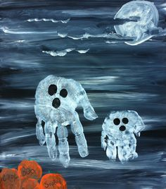 Halloween Kid's Craft Ghostly Kit – Custom, Personalized, Hand Painted Canva… - Fall Crafts For Toddlers Halloween Arts And Crafts, Fete Halloween, Holidays Halloween, Halloween Kids, Halloween Themes, Fall Crafts, Holiday Crafts, Halloween Decorations, Halloween Ghosts