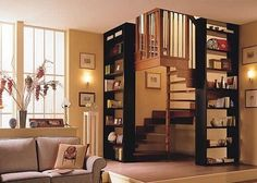 stairs in corner space with bookcases