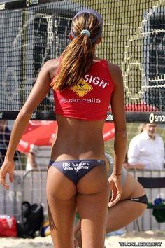 Sexy single athletic beach volleyball women