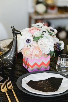 Modern dinner party inspiration | Kate Spade New York dinnerware | photo by Erin Hearts Court | Read more - http://www.100layercake.com/blog/?p=67320