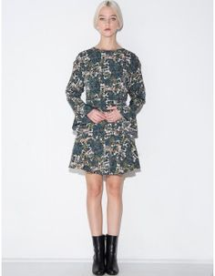 Flower Print Trumpet Sleeve Dress #fashion #pixiemarket