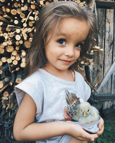 a Trip to a country Village  the Carefree Nastya take good Care of a Chicken _Jun 26-2016. - 3 1/2 yrs old *.~ Wonderful photo ✪.