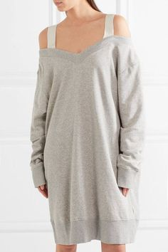MM6 Maison Margiela - Canvas-trimmed Stretch Cotton-blend Jersey Sweater  Dress - Light