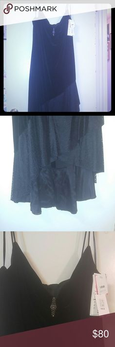 Black velvet evening dress Black velvet asymmetrical high low gown. New with tags. Never worn. Betsy & Adam Dresses High Low