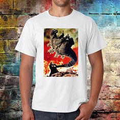 King kong vs Godzilla T-shirt retro look vintage feel Japan