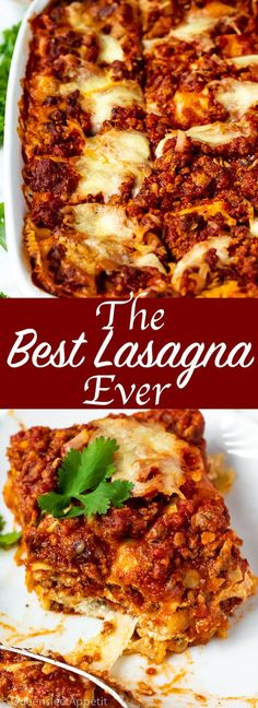 This Lasagna is the best I've ever had! Layers of a thick and meaty sauce, creamy ricotta filling and a cheesy topping. I guarantee this will be your new favourite go-to recipe for the holidays! Lasagna No Meat Recipe, Lasagna Sauce, Meaty Lasagna, Lasagna Recipe With Ricotta, Lasagne Recipes, Casserole Recipes, Pasta Recipes, Beef Recipes, Cooking Recipes