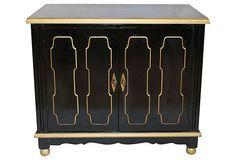 Hollywood Regency Black & Gold Cabinet