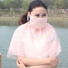 Design Women 2 in 1 Lace Mouth Arm Warmers Face Mouth Gauze Mask Healthy Dust Masks Fashion Accessories Color Random P05