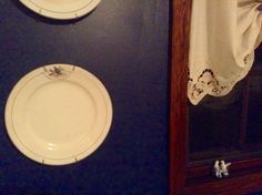 I have a fetish about vintage dishes especially bluebird patterns - they were stored at present in a cardboard box under a bed - my painting project included a dark blue to accent the already existing French Country wallpaper so I dusted off the bluebird plates to display on the new wall color ---