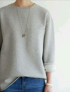 Grey sweater. Jeans. Simple necklace. Perfect.
