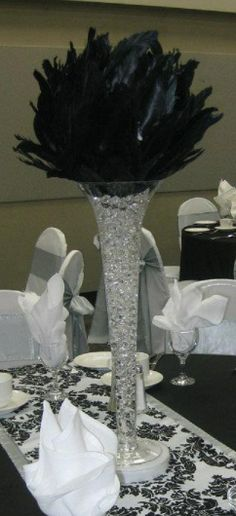 Black Feather Ball Centerpiece B&W Damask Runner with silver border
