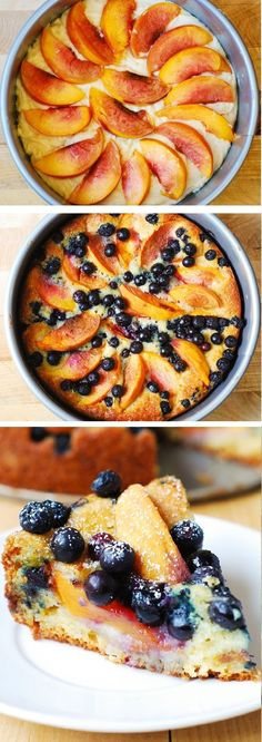 We love baking with Greek yogurt and this recipe is divine. Delicious, light and fluffy Peach Blueberry Greek Yogurt Cake made in a springform baking pan. Greek yogurt gives cake a richer texture! Healthy Desserts, Just Desserts, Delicious Desserts, Dessert Recipes, Yummy Food, Healthy Recipes, Healthy Fruit Cake, Light Desserts, Thm Recipes