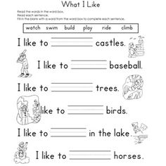 Worksheet Fill In The Blank Worksheets we the ojays and reading worksheets on pinterest fill in blank what i like in
