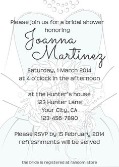 Cute bridal shower invite, this designer will change the color of the dress on the invite, too!