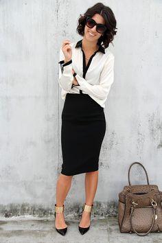 Elegant outfit #style #work - saia lapis +camisa branca