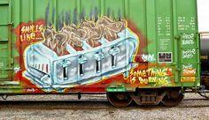 Great piece of freight train graf by Mers. I love freight train graffiti! Graffiti I, Street Graffiti, Graffiti Alphabet, Street Art, Patrick Nagel, American Graffiti, Train Times, Train Art, Rail Car