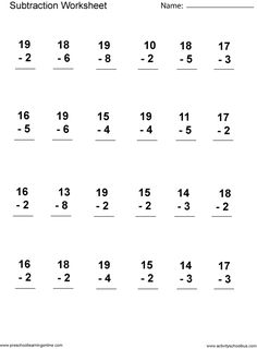 Looking for a Printable Subtraction Worksheets For First Grade. We have Printable Subtraction Worksheets For First Grade and the other about Benderos Printable Math it free. Addition Worksheets First Grade, Addition And Subtraction Worksheets, Math Subtraction, Printable Math Worksheets, Math Addition, School Worksheets, 3rd Grade Math Worksheets, Addition Activities, Math Workbook