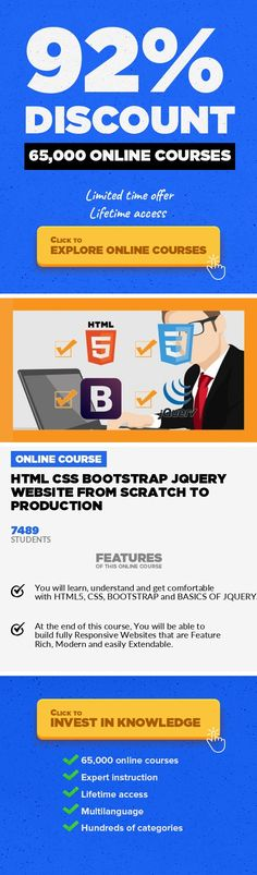 HTML CSS Bootstrap jQuery Website from Scratch to Production Web Development, Development #onlinecourses #learningathomepreschool #onlinelessonsteachersQuickly Learn to code Responsive Websites using HTML CSS BOOTSTRAP JQUERY from SCRATCH. It's easier than you think! Hello and welcome. Do you want to get up and running with basics of HTML CSS Bootstrapas soon as possible? Then you will love th...
