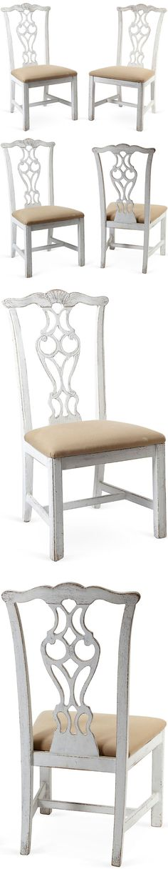 Painted Chippendale-Style Chairs, Pair :: $675, Retail $1450 | OneKingsLane.com :: Carved wood. White distressed paint. Beige linen. :: OMG! SHOCKED at the price on these! I bought a set of 6 IDENTICAL chairs on Craigslist (in sad shape--black w/ horrid pink upholstery) for $50! Sanded & refinished 'em white to go w/ my IKEA LIATORP. table. I want to sand a bit of white off so they're distressed like these. I have toile now, but want to redo in an oatmeal linen. | #chippendale…