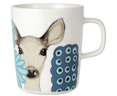 Marimekko Kaunis Kauris White/Turquoise Mug The newest Marimekko mug features a fancy little forest friend to accompany your morning jolt of caffeine. The Marimekko Kaunis Kauris White/Turquoise Mug is covered in Teresa Moorhouse's 2011 doe-eyed. Scandinavia Design, Crate And Barrel, Dinnerware, Stoneware, Tea Pots, Coffee Mugs, Coffee Set, Spin, Textiles