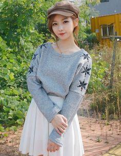 Mori Girl Snowflake Embroidery Long Sleeve Woven Tees  _Long Coats_Outerwear_Wholesalekingdom.net