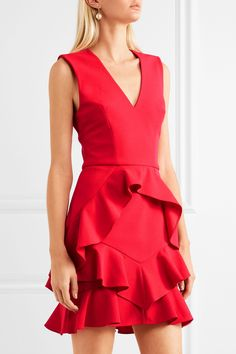 REBECCA VALLANCE Havana ruffled crepe mini dress