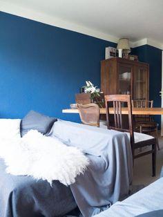 Wohnzimmer Mit Dunkelblauer Wand Und Gemtlicher Couch In Mnchner WG Zimmer Mnchen