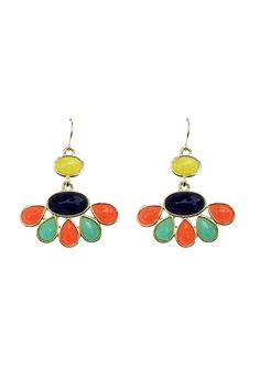"""Fantastic pair of colorful floral inspired dangles with navy, salmon, teal, and yellow colored stones throughout. These dangles are the perfect size to become your everyday earrings to match any outfit you have. They can be paired with a neutral basic outfit to add a bit of pizazz! Or match them with a colorful top or dress you have! They are approximately 1.25"""" wide at their widest point and are 1.25"""" total length. Big enough to make a statement, but small enough to become your new favorite…"""