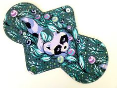 "Cloth Pad Menstrual- 10"" Classic Contour Length, COTTON, Artistry Regular Absorbency, WINDPRO Tula Pink Acacia Raccoon Bluebell"