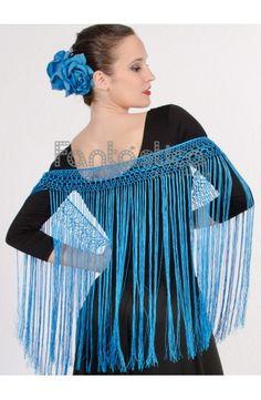 Flecos para Trajes de Flamencas y Sevillanas - Flecos Color Azul Turquesa III