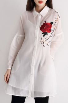 Floral Embroidered Long Shirt