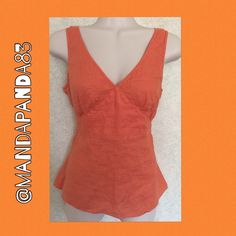 ❤️100% Linen Dressy Orange Top❤️ EUC❤️Linen, v neck tank style top. It has an empire waist effect that is so flattering! It has back ties to give you the shape you want. Needs to be ironed; NO CONDITION ISSUES❤️ Beautiful top to dress up or down! J. Crew Tops Tank Tops