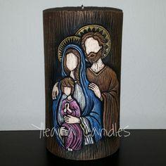 Sagrada Familia/Holy Family Fondant Toppers, Holy Family, Catholic, Candle Holders, Nativity Scenes, Crafts, Pasta, Craft Ideas, Home Decor