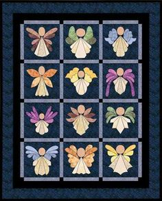 The angel blocks in this scrap-happy quilt are easy to make using fusible machine applique and simple piecing. Use fabric scraps or coordinating fat quarters to Quilting Projects, Quilting Designs, Sewing Projects, Quilt Design, Cute Quilts, Mini Quilts, Applique Quilt Patterns, Christmas Applique, Machine Applique