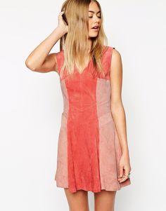 Suede dress colour block