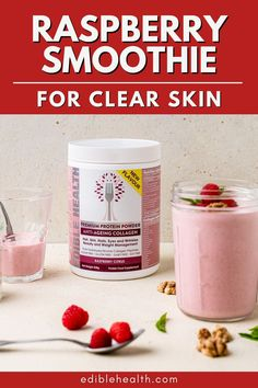 This raspberry smoothie recipe is fresh and zingy, yet creamy, rich, and packed with all the lovely goodness your skin could ever ask for. With this recipe you've got a glass of summer vibes, and complexion-caring ingredients. Weight Loss Smoothies, Healthy Smoothies, Healthy Drinks, Smoothie Recipes, Benefits Of Collagen Powder, Raspberry Smoothie, Recipe Of The Day, Clean Eating Recipes, Clear Skin