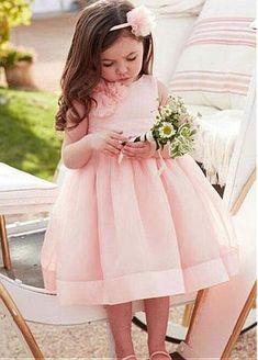 4aefdd125e9 Pretty Organza Jewel Neckline A-line Flower Girl Dresses With Handmade  Flowers   Belt