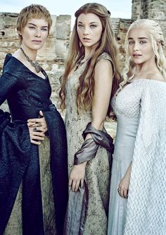 Lena Headey, Natalie Dormer & Emilia Clarke as Cersei Lannister, Margaery Tyrell & Daenerys Targaryen in Game of Thrones season 6 (Entertainement Weekly, April 2016)