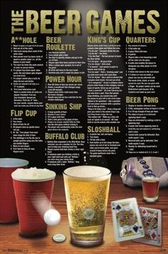 Beer Games Drinking College Fun Poster - Drinking games for parties - Beer Drinking Games, Beer Games, Drinking Games For Parties, Adult Drinking Games, Outdoor Drinking Games, Drunk Games, Party Games For Adults, College Drinking Games, Halloween Drinking Games