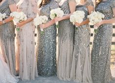 Shades of Sparkle: Top 10 Sequins Bridesmaid Dresses - EmmaLovesWeddings - mismatched silver glitter bridesmaid dresses Glitter Bridesmaid Dresses, Sparkly Bridesmaids, Mismatched Bridesmaid Dresses, Wedding Bridesmaids, Sparkle Dresses, Charcoal Bridesmaid Dresses, Flattering Bridesmaid Dresses, Bridesmaid Gowns, Wedding Dresses