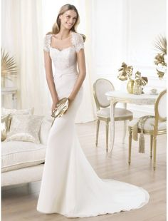 Chiffon and Lace Sweetheart Neckline Wedding Dress with Cap Sleeves PS0012 - Bridal Gowns - goodcheapweddingdress