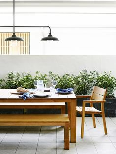 Tribu table from Cosh Living, light from Town and Country Style – it's a Tierlan Tijn Light handmade in the Netherlands. Courtesy of the Design Files Daily Outdoor Dining, Outdoor Spaces, Outdoor Decor, Patio Dining, Dinning Set, Dining Table, Outdoor Ideas, Dining Area, Dining Rooms