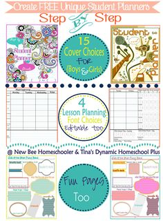 Create Free Unique Student Planners @ Tina's Dynamic Homeschool Plus